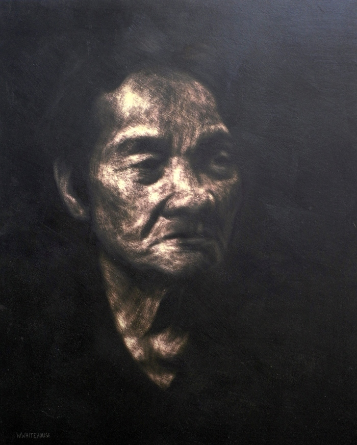 Banh Mi Lady #2, 80x60cm, sandpaper scratched into acrylic on board, 2013