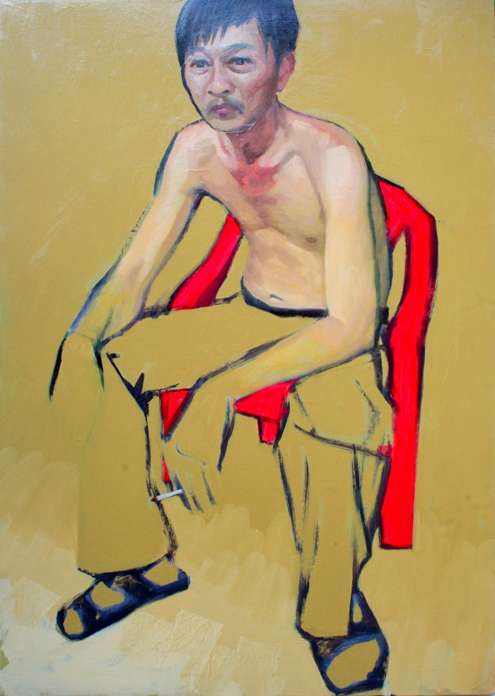 BBQ Man in Red Chair 1, 70x50cm, oil on canvas, 2013