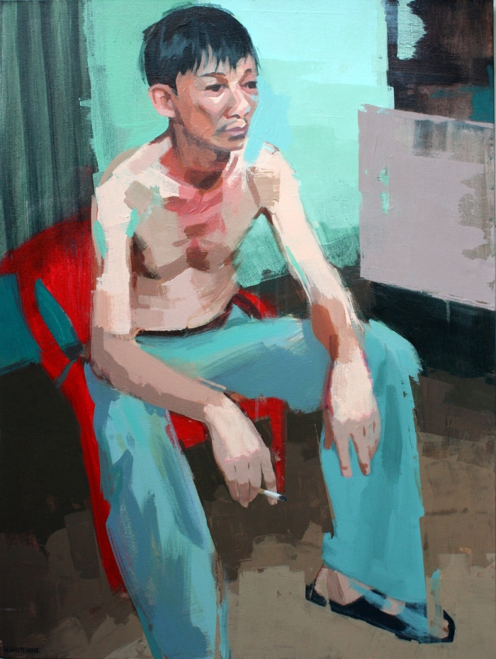 BBQ Man in Red Chair 2, 80x60cm, acrylic on canvas, 2014 crop