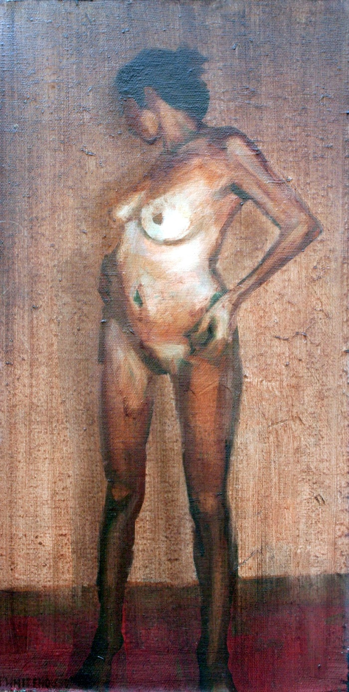 Girl in Dark Room, 40x21cm, oil on canvas, 2012