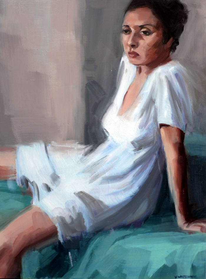 Girl on Foot of Bed #2, 70x50cm, oil on canvas, 2013
