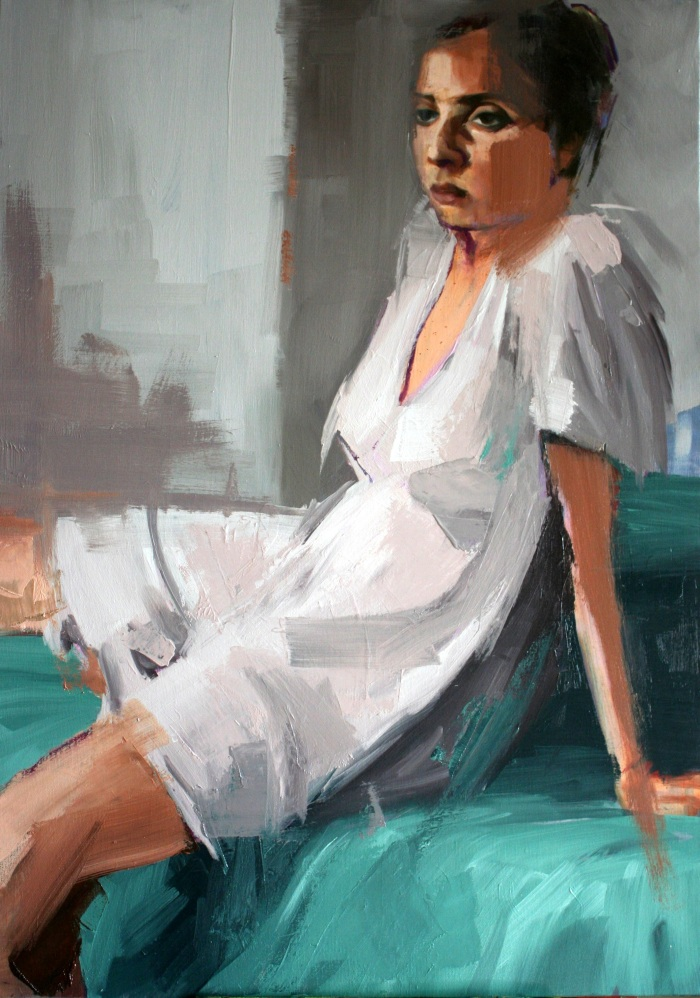 Girl on Foot of Bed #3, 70x50cm, oil on canvas, 2013