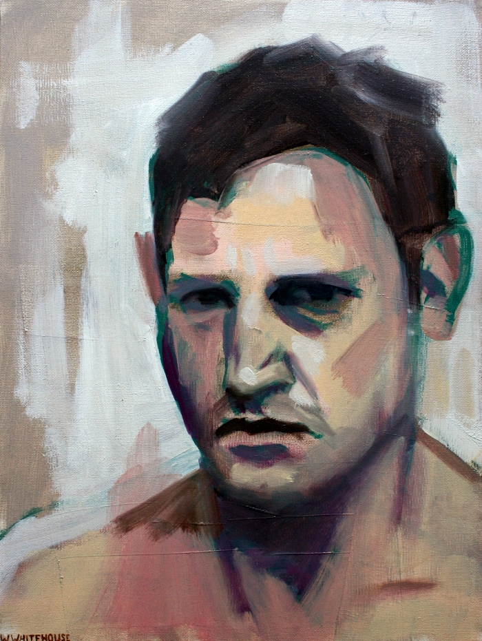 self portrait on rough morning, 40x30 cm, oil on canvas, 2012