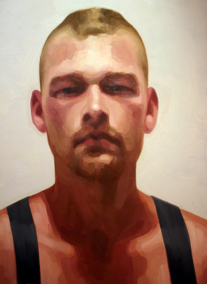 S.C. in Suspenders #2, 120x90 cm, oil on canvas, 2014
