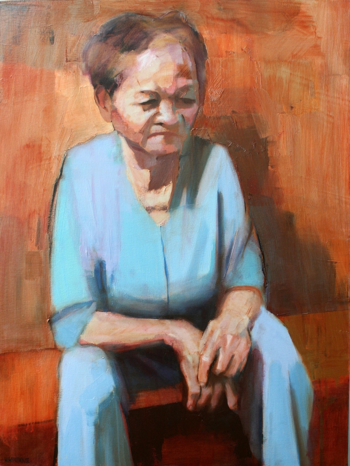 Banh Mi Lady #6, 80x60 cm, ink and oil on canvas, 2014