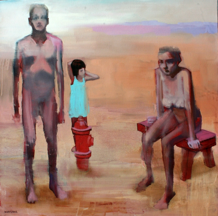 Dysfunctional Family Holiday, 60x60 cm, charcoal, acrylic, and oil on canvas, 2015