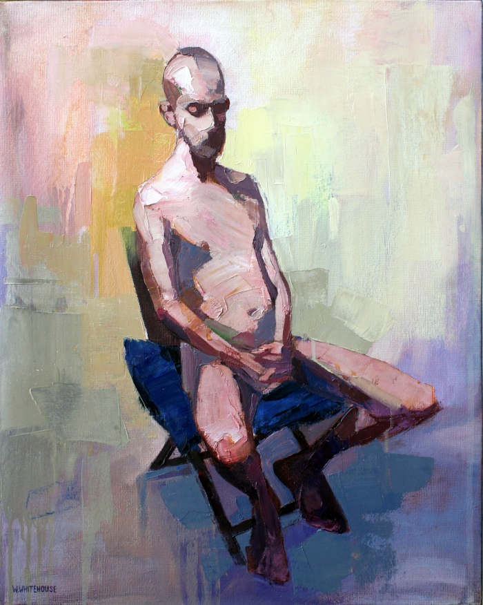 Man on Chair with Blue Pillow, 50x40 cm, oil on canvas, 2015
