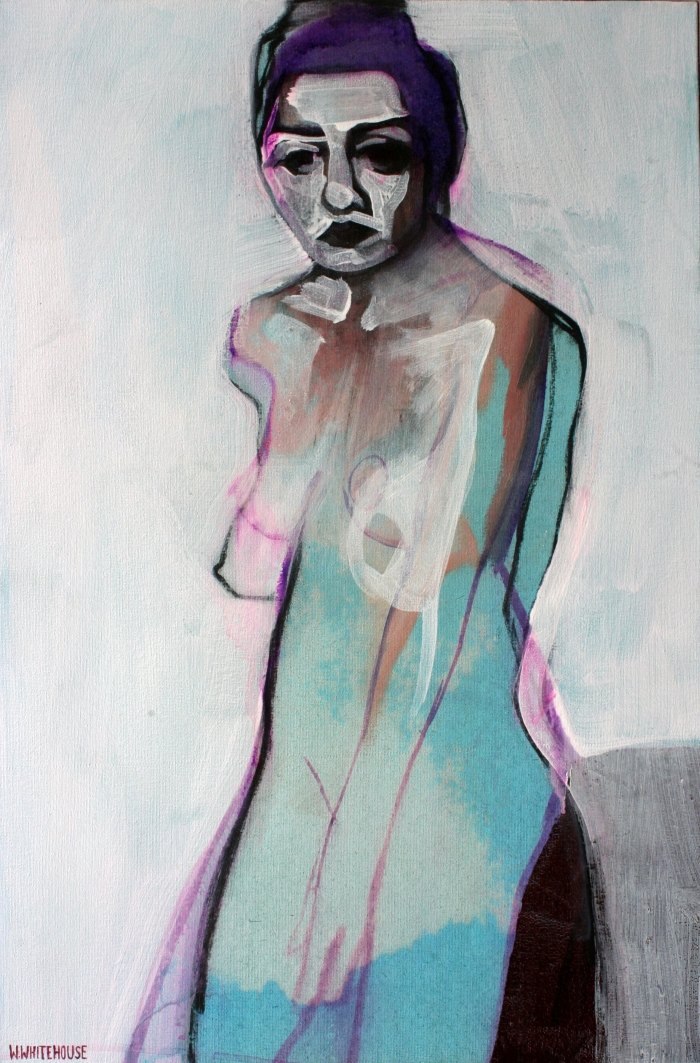Woman in Blue, 60x40 cm, charcoal, acrylic, and oil on canvas, 2015