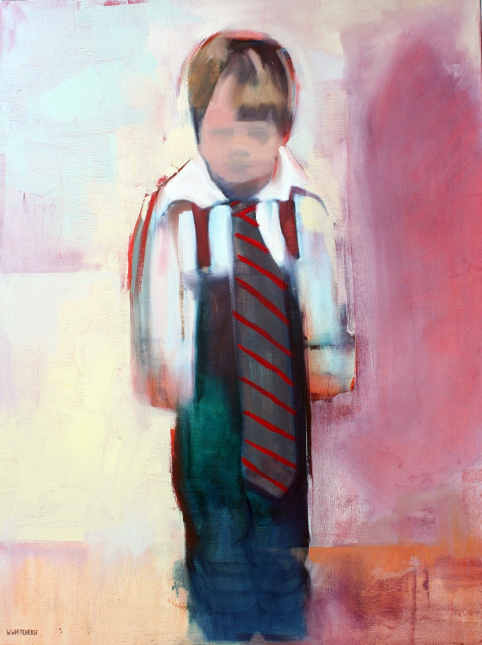 Young Boy Dressed Up, 80x60 cm, charcoal, acrylic, and oil on canvas, 2015