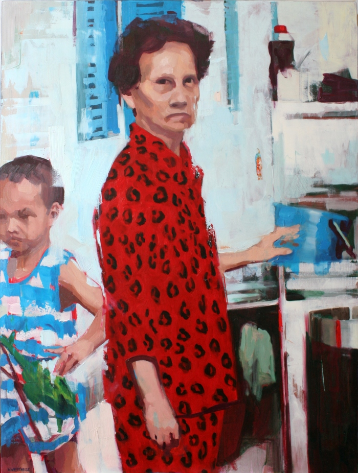Lady in Red Pyjamas, 80x60 cm, oil on board, 2015