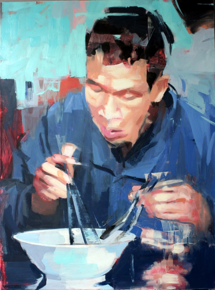 Man eating Hu Tieu, 80x60 cm, oil on canvas, 2015