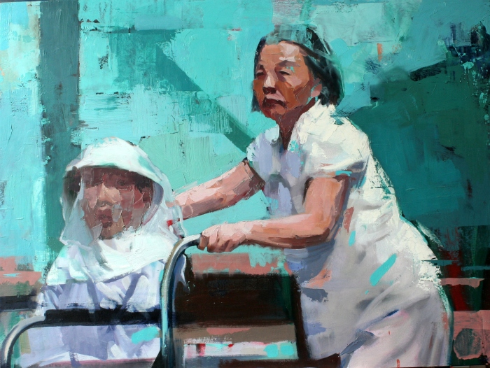 Mother of Man in Wheelchair, 80x60 cm, oil on canvas, 2015