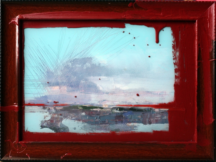 Frame Series (#3), 26.5x35.5 cm, oil, spray paint, polycarbonate, and oxide primer on frame, on canvas, 2016