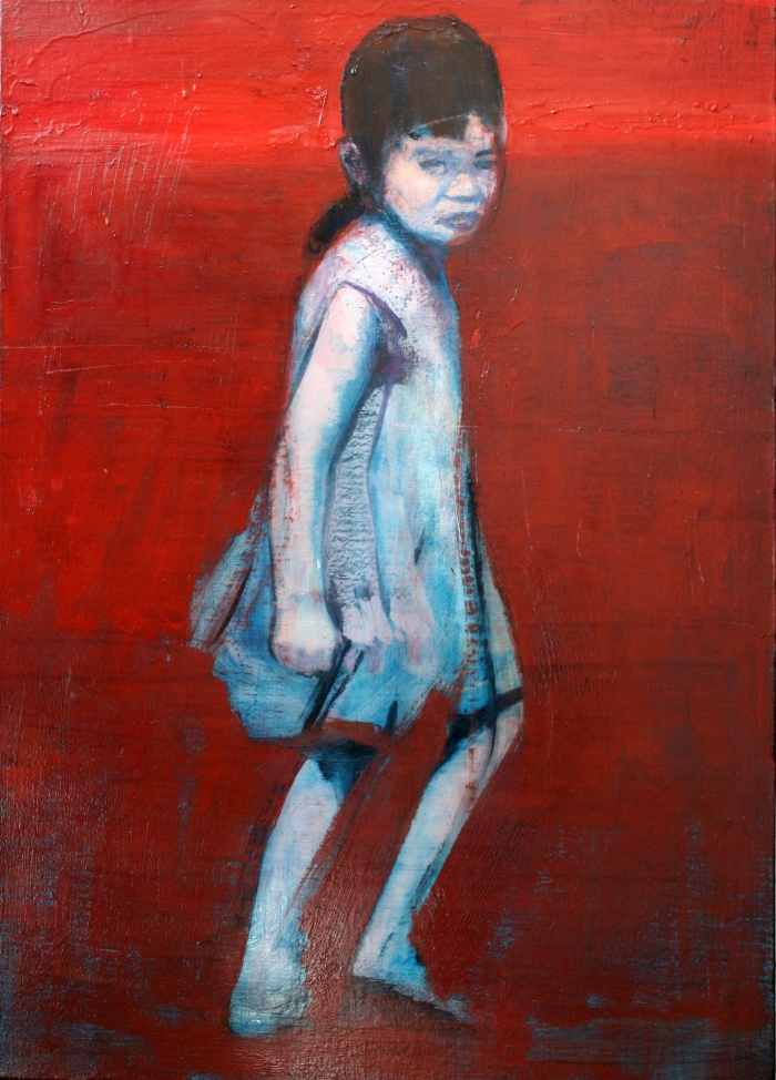 Girl in Red Landscsape, 70x50 cm, oil, oxide primer, and enamel on linen, 2016