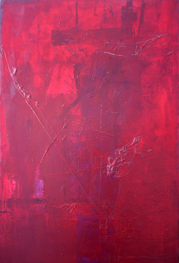 Red Mess, 120x80 cm, acrylic, fabric, and oil on canvas, 2016